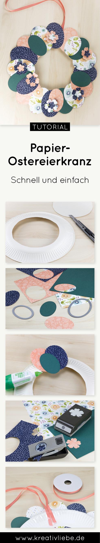 Ostereierkranz mit Papptelleraus Papier