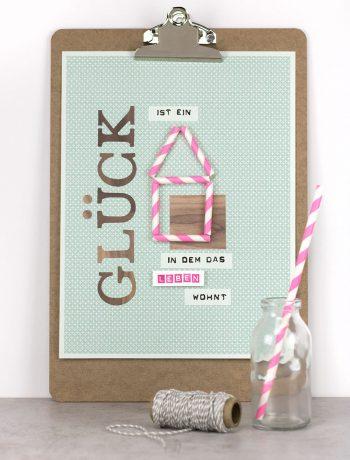 Klemmbrett mit Stempeln, Strohhalm und Spruch. Moderne Wohndeko für dein Zuhause. Tolles Geschenk und Mitbringsel