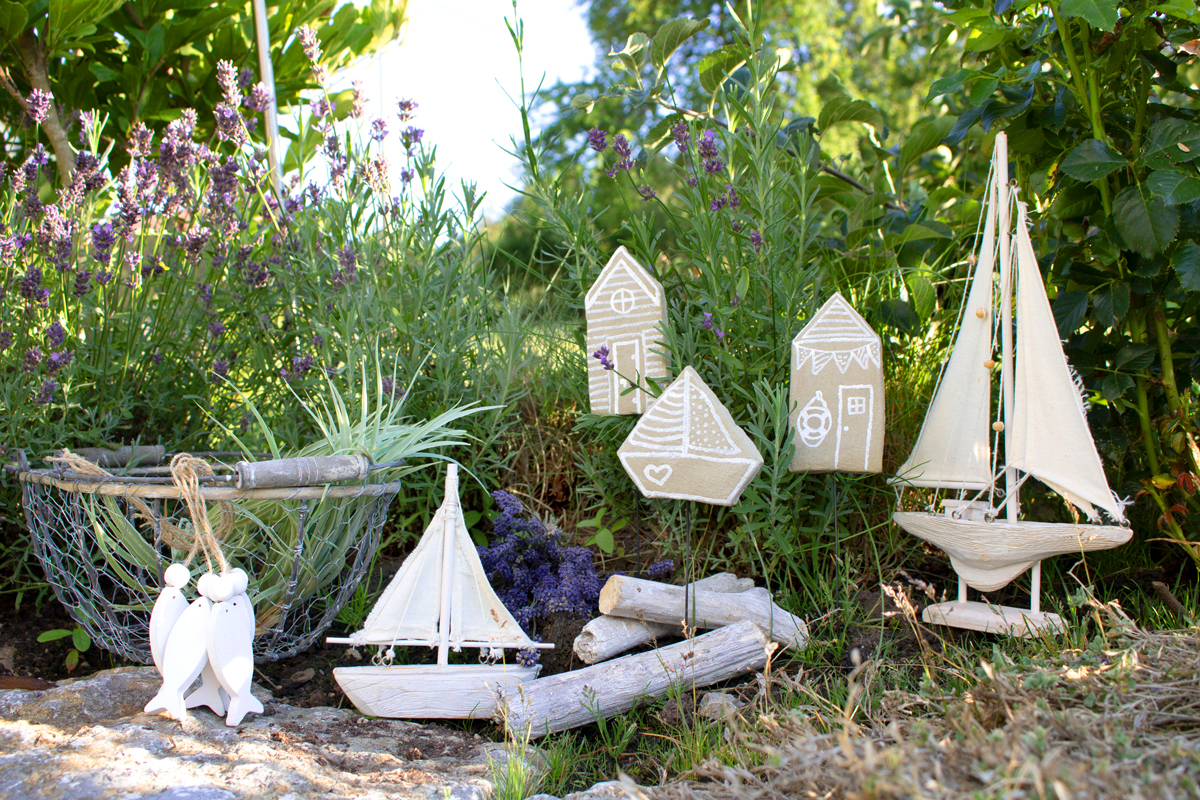 Maritime Pflanzenstecker aus Knetbeton