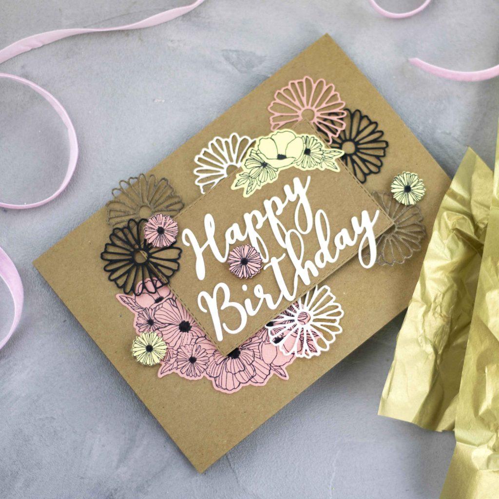 Geburtstagskarte mit Stanzen und Kraftkarton