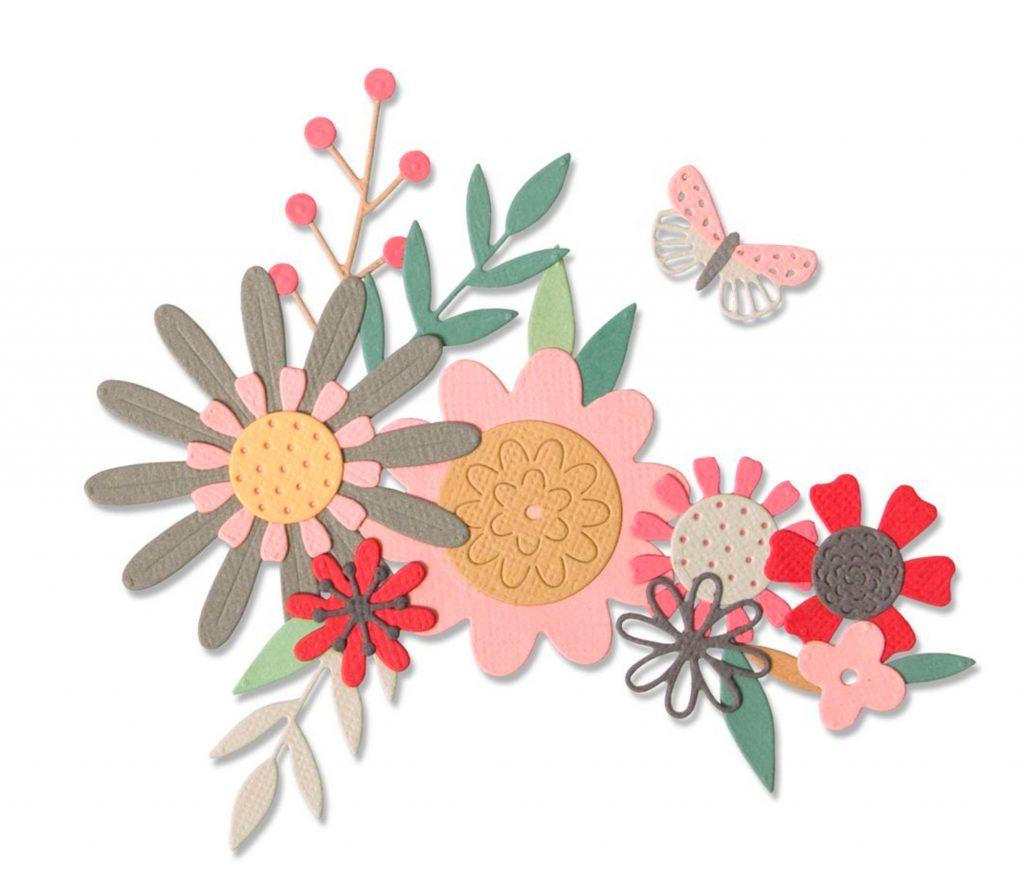 Sizzix Stanze Bold Flora Blüten Sommer Schmetterling