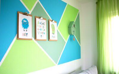 Wandgestaltung fürs Kinderzimmer in Grün-Blau